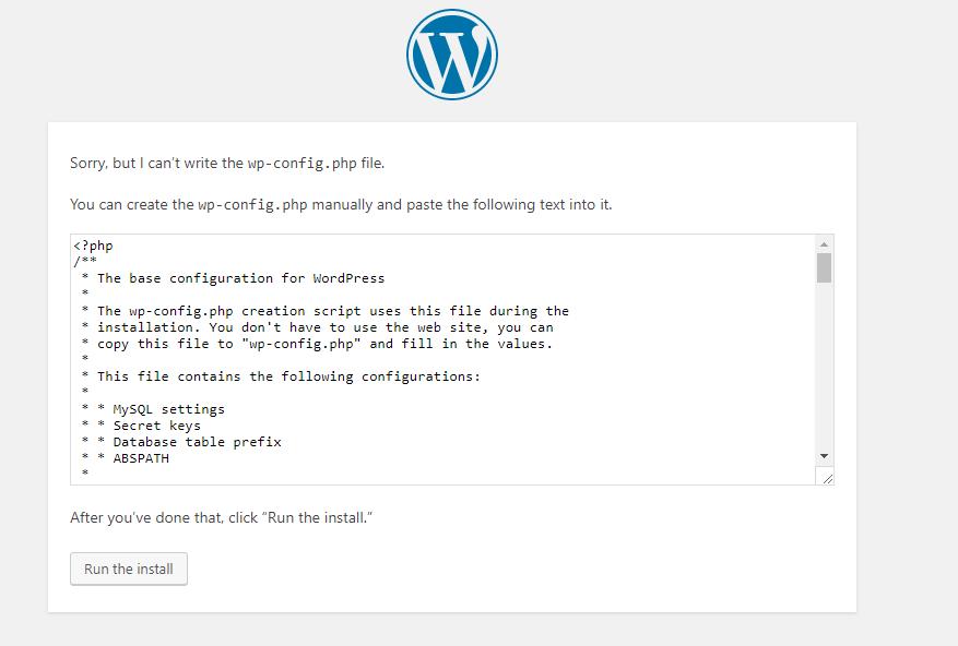 a new WordPress database